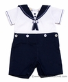 Carriage Boutique Baby / Toddler Boys Navy Blue / White Sailor Button On Suit