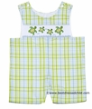 Claire & Charlie Baby / Toddler Boys Green / Blue Plaid Smocked Sea Turtle Shortall
