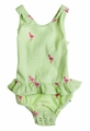 Snapping Turtle Kids Girls Palm Beach Green Seersucker / Pink Flamingo Embroidery Swimsuit
