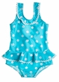 Snapping Turtle Kids Girls Blue / White Dots Pebble Beach Ruffle Swimsuit