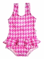 Snapping Turtle Kids - Baby / Toddler Girls Hot Pink Check South Beach Ruffle Swimsuit