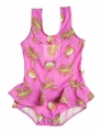 Snapping Turtle Kids Girls Pink / Lobsters Bar Harbor Ruffle Swimsuit