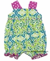 Anavini Baby / Toddler Girls Lime Green Floral Bubble - Big Bow on Back