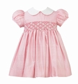 Anavini Baby / Toddler Girls Pink Gingham Silk Smocked Float Dress