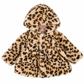 LeTop Baby Girls Leopard Print Faux Fur Jacket with Hood - Reversible