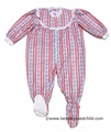 RU Sleeping Holiday Sleepwear - Red Tyrolean Print - Footed Ruffle Sleeper for Baby / Toddler Girls - Like Lanz