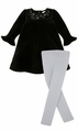 Le Top Girls Dressy Black Velour Dress with Silver Swirls & Stars and Silver Glitter Footless Tights