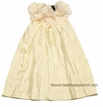 Laundry by Shelli Segal - Girls Sarah Ivory with Gold Shimmer Crinkle Holiday Party Dress
