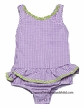 Snapping Turtle Kids Girls Lavender Gingham Seersucker Ruffle Swimsuit