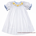 Anavini Girls White / Blue Dots Smocked Yellow Darling Ducks Bishop Dress