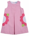 Florence Eiseman Girls Bright Pink Ottoman Sleeveless Dress with Flower Pockets