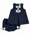 Florence Eiseman Infant Girls Navy Blue Pique Dress with Bloomers - White Bows