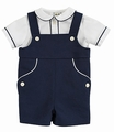 Florence Eiseman Baby / Toddler Boys Navy Blue Pique Shortall with Corded Shirt