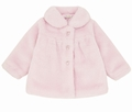 Le Top Girls Pink Faux Fur Jacket Coat with Zip Front