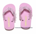 Kate Mack Girls Pink Silver Splash Flip Flops
