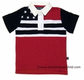 E Land Kids Boys Red / Navy Blue Patriotic Flag Polo Shirt
