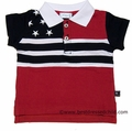 Eland Kids Infant Baby Boys Red / Navy Blue Stars & Stripes Patriotic Flag Polo Shirts