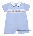 Petit Bebe by Anavini Baby Boys Light Blue Gingham Smocked Owls Short Romper