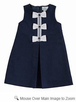 Florence Eiseman Girls Navy Blue Pique Sleeveless Dress with Bows
