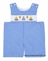 Claire & Charlie Baby Boys Blue Gingham Smocked Birthday Party Hats Shortall
