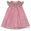 Claire & Charlie Girls Pink / Green Circles Smocked Frogs BISHOP Dress