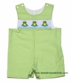 Clare and Charlie Infant / Toddler Boys Green Check Smocked Frog Trio Shortall