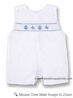 Petit Bebe by Anavini Infant / Toddler Boys White Poplin Shortall with Smocked Blue Seashells