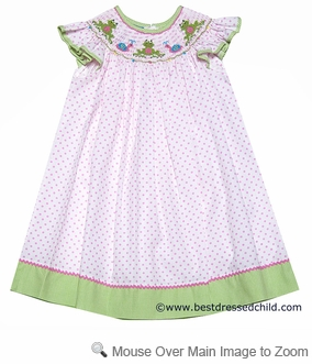 Anavini Girls White / Pink Dots Smocked Garden Frogs Bishop Dress