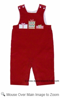 Claire and Charlie Baby / Toddler Boys Red Corduroy Applique Christmas Gifts LONGALL