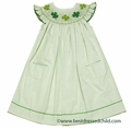 Silly Goose Girls Smocked St. Patricks Day Shamrocks on Green Check Dress - Flutter Sleeves