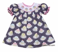Anavini Baby / Toddler Girls Grey / Pink Birthday Cupcake Print Smocked Cupcakes Bishop Dress