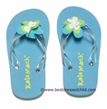 Kate Mack Girls Aqua Blue Wave Dancer Flip Flops