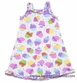 Sara's Prints Girls Pink / Purple Birthday Cupcakes Ruffle Nightgown