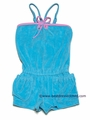 Kate Mack Girls Terry Cloth Romper - Aqua BLUE