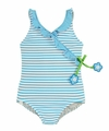 Florence Eiseman Girls Turquoise Blue / White Striped Crossover Bathing Suit