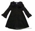 Biscotti Girls Dressy Black Polar Fleece Coat - Scallop Layers and Bell Sleeves