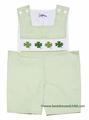 Silly Goose Baby / Toddler Boys Smocked St. Patrick's Day Shamrocks on Green Check Sunsuit