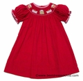 Anavini Girls Red Corduroy Smocked Pretty Christmas Gifts Bishop Dress