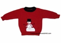 T F Laurence by Florence Eiseman Boys Christmas Red Intarsia Holiday Snowman Sweater