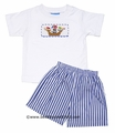 Anavini Boys Smocked Pirate Ship Shirt with Blue Striped Shorts