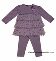 Kate Mack Girls Purple Lilac Fairy Stripe / Dots Tulle Tunic with Striped Leggings