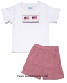 Anavini Velani Boys Smocked American Flag Shirt with Red Gingham Shorts