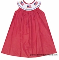Anavini Velani Girls Red / White Dots Smocked Patriotic Flags Dress
