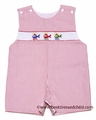 Petit Bebe by Anavini Infant / Toddler Boys Red Seersucker Smocked Helicopters Sunsuit