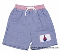 Anavini Boys Blue Gingham Seersucker Smocked Sailboat Bermuda Swim Trunks
