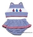 Anavini Girls Blue Gingham Seersucker Smocked Sailboats Swimsuit - Bikini