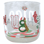 Lolita Rocks Glasses - Set of Four Holiday Designs Hand-Painted Holiday Rocks Glasses  SOLD OUT