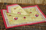 French Linens - Placemats or Napkins - Pansy in Red & Green