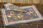 French Linens - Placemats or Napkins - Pansy in Grey & Red