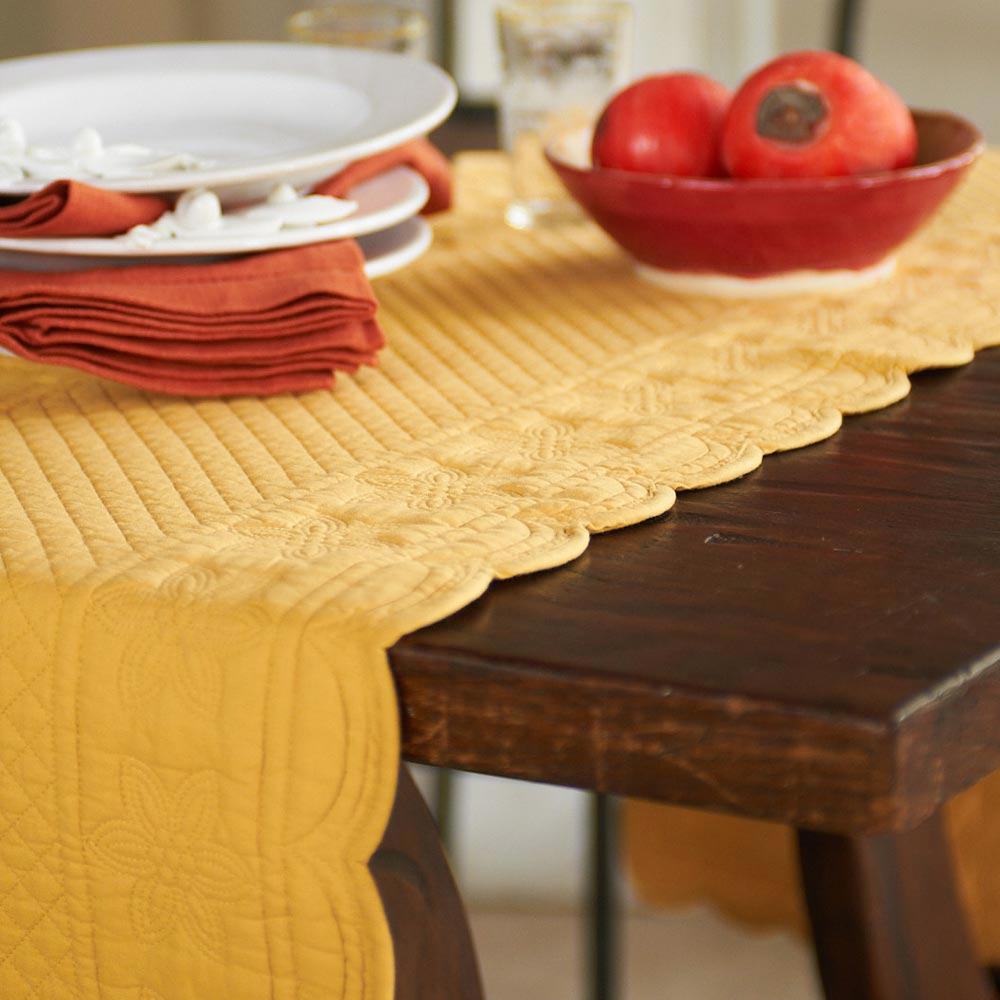 Quilted Table Runner - Sonia in French Country Yellow